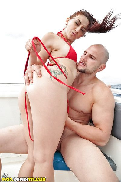 Latin chick slut Mandy Muse winsome hardcore anal digging outdoors on boat