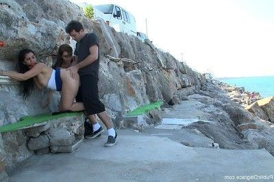 Gal accepts stripped, united up and screwed outdoor in public places