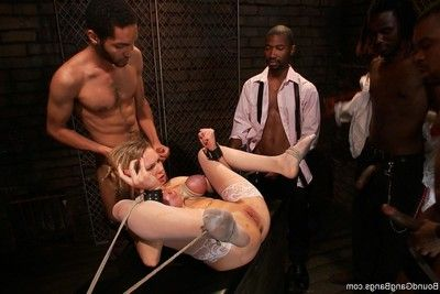 Wild darling receives attached up, punished and bonked by group of gentlemen