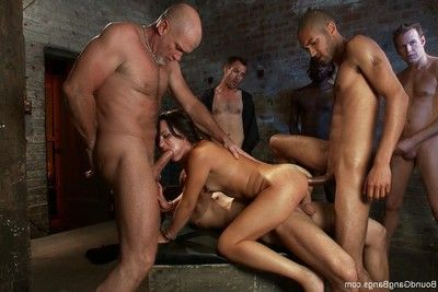 Extreme darling accepts fastened up, punished and owned by group of fellows
