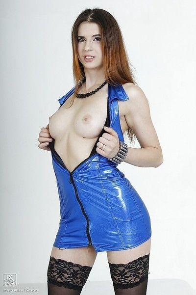 Muddy lass delicious off her latex clothing and toying her taut chocolate hole