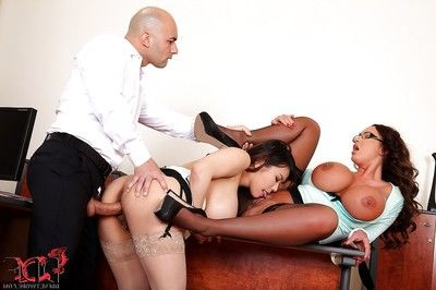 Lecherous top-heavy MILFs have a two men plus one female with their lewd office boy-friend
