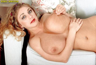 Pornstar Autumn Jade freeing saggy meatballs from bodystocking previous to anal toying