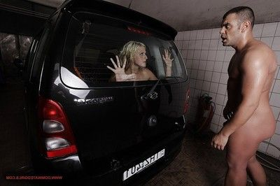 Brutal fairy-haired chico with moist booty attains roughly fucked in group at the car wash