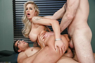 Granny golden-haired Ryan Conner grand ass-pounding in hardcore DP with doctors