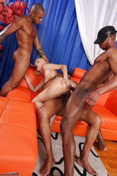 Interracial hardcore groupie with splendid concupiscent blond Kim A
