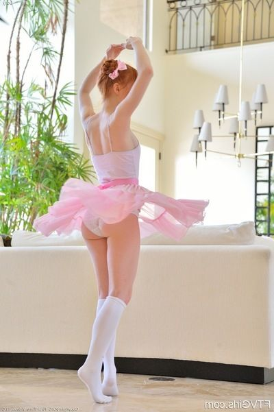 Willowy redhead adolescent in ballerina outfit jamming sex toy up pink bawdy cleft