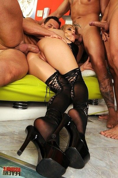 Fairy britney attains anal fucked in group by 3 men