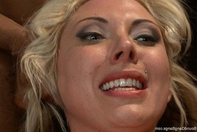 Titsy blond lawyer gang team-fucked by her client and his associates