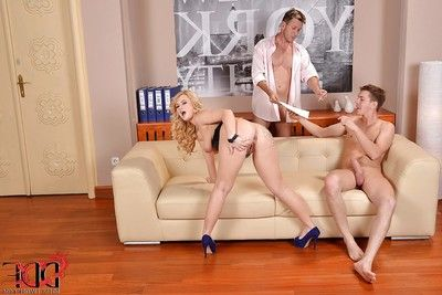 Sweaty European fairy-haired Bonnie Rose attains involved in hardcore MMF