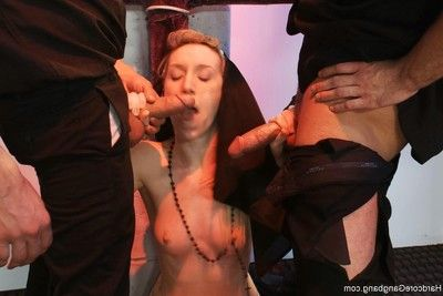 Untarnished nun being group-bonked by 5 priests in chapel