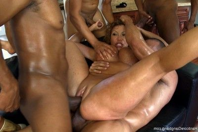 Rich milf taken down  group-fucked by her daughters brown brute companions