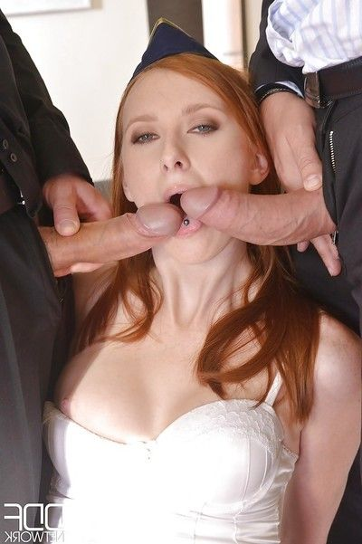 Dirty redhead stewardess Linda Attractive swallowing and riding wang in groupie