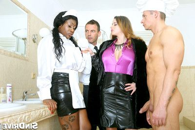 Passionate butler and cfnm chef battle vast tit doxies with dp and ass to mouth