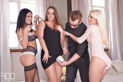 Stocking garments Euros Aida Sweet, Candee Licious and Amirah having groupsex