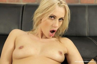 Milf girl Brittany Bardot toying cooter and playing with dick with phallus exchanger