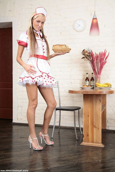 Diminutive fairy female servant in white uniform toying her taut dark hole