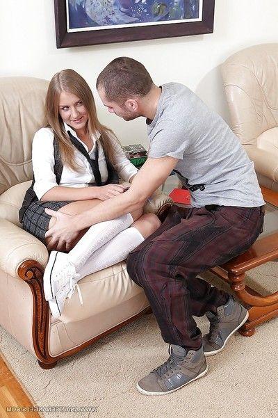 Extreme coed in white socks Malia sucks and bonks her boyfriend