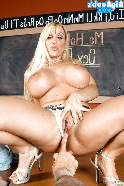 Breasty MILF daddy Holly Halston riding penis for hardcore  on desk