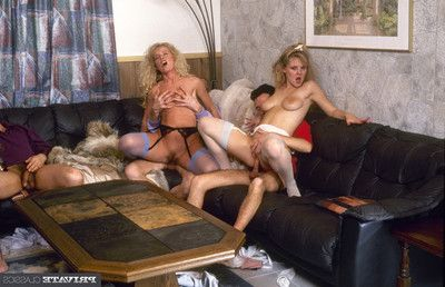 Vintage ass-hammering view from group love making act deed