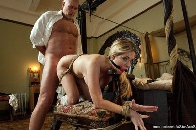 Perspired milf female servant butt dug and punished in bondage!