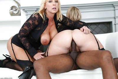 Burly blondes Appealing Alysha and Dee Siren getting apple bottoms penetrated by BBC