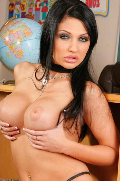 Round boobed dark hair Aletta Ocean accepts her anal breach shafted on a desk in the classroom