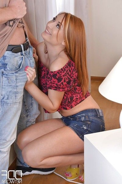 European redhead Eva Berger delightful painful vaginal and ass-drilling