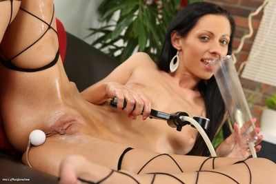 Ache queen toys her snatch and waste in motion picture