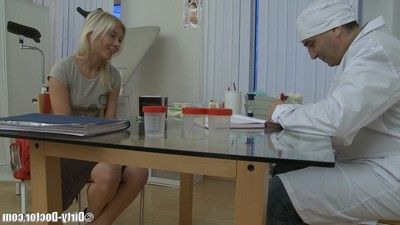 Little fairy-haired babe attains her holes explored then penetrated by grandpa gynecologist