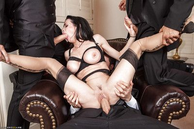 Stunning dark hair bitches in nylons enjoys a zealous orgy activity
