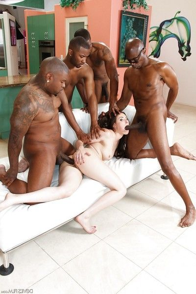 Casey Calvert receives two bonked by massive swarthy penis in interracial groupie