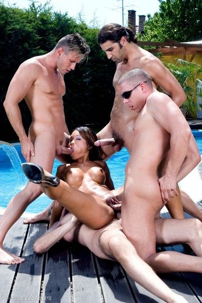 Sticky oriental jade sin accepts gang gangbanged in the pool