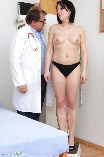 Ripened broad Lydie disrobes nude for Gyno dcotor to examine her