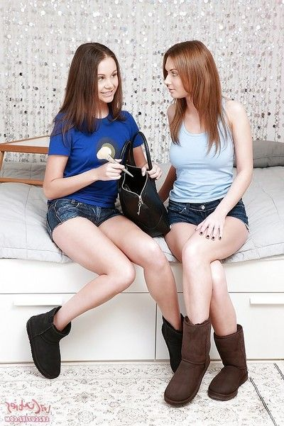 Lusty legal age teenagers have some lesbo satisfaction concluding up with anal handballing