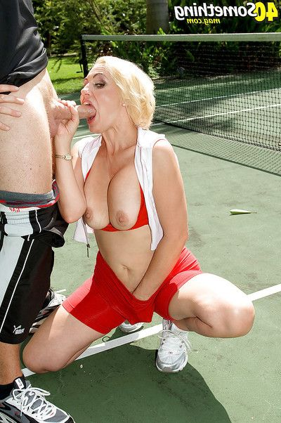 Sporty mamacita Raquel Sieb purchases gangbanged by her tennis instruct right on the court