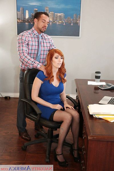 Redhead office worker Lauren Phillips voluptuous buttfucking in nylons