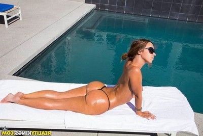 Brunette hair with hot apple bottoms on knees hairy pouch licking & pounding doggy style by the pool