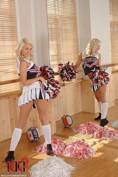 Fairy Euro cheerleader Tracy Tasty flaunting marvelous coed wazoo in socks