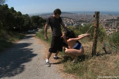 Girl purchases stripped, fixed firmly up and penetrated outdoor in public places
