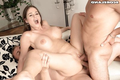 Titsy mamacita Cathy Heaven giving enormous schlongs blowjobs in advance of hardcore DP banging