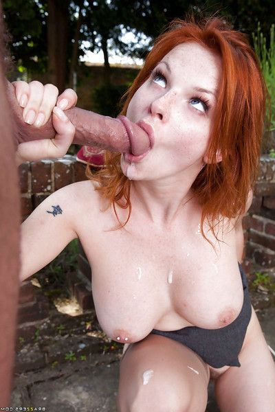 Redhead bombshell Tarra White enjoys ardent ass training ouutdoor