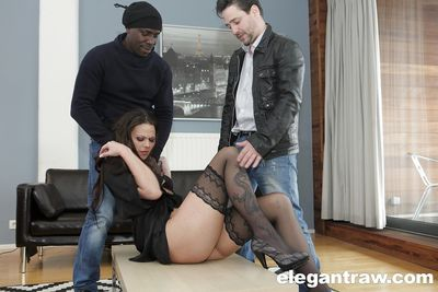 Anal intercourse pornstar benefits from two fucking one by biggest ramrods in interracial Triad