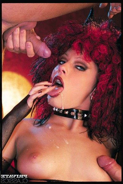 Gigantic boobed redheaded Messalina syndrome clothing in her leather web and fishnet
