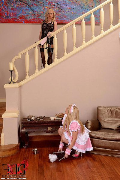 Stocking and underclothes garments golden-haired anally digs pretty golden-haired house girl in uniform