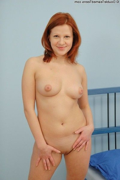 Breasty redheaded coed having her clammy arse rammed by double males