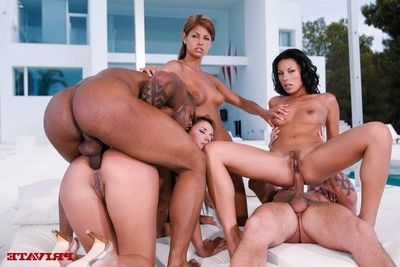 3 brilliant lasses at ibiza sharing a schlong in a foursome