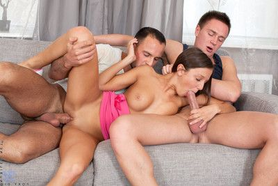 Girl foxy di accepts backdoor pounded by dual severe ramrods
