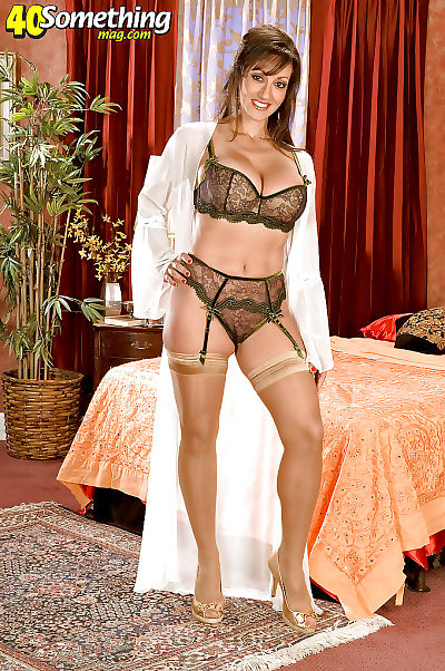 Concupiscent placid with large love bubbles erotic dance from nylon nylons and lacy underclothes