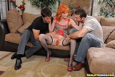 Seasoned redhead Sasha Genus dug by twofold boys and got jizz on her gentile